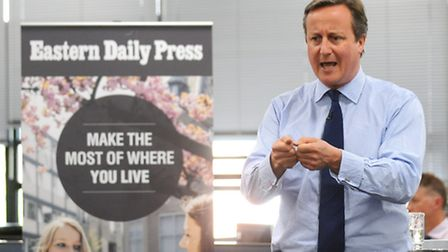 Prime Minister David Cameron at Archant newsroom ahead of the EU referendum. Picture: ANTONY KELLY