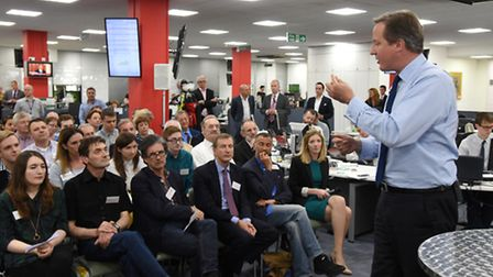 PM David Cameron addressing invited guests at Archant's headquarters in Norwich. Photo : Steve Adams