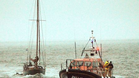 The Lowestoft RNLI Lifeboat was called to help a Dutch yacht named 'Unity'. Picture: Mick Howes