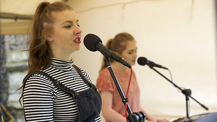 Into the Crowd singing duo Megan Howlett and Jodie Weller..Picture: MARK BULLIMORE