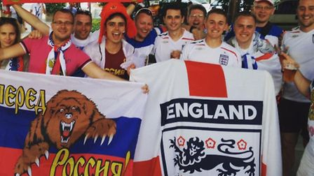 England fan Chris Collins with friends and Russian fans in Marseilles. Photo: Submitted