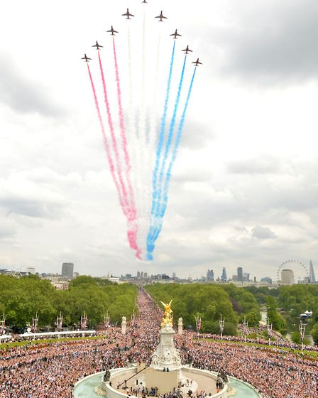 The fly-past over The Mall after the Royal family attended the Trooping the Colour ceremony at Horse