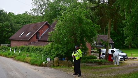 Police search the home of missing couple Peter and Sylvia Stuart in Mill Lane, Weybread, SuffolkPHOT