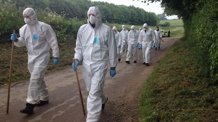 Forensic teams are seaching fields and woods around Weybread where Peter Stuart's body is thought to
