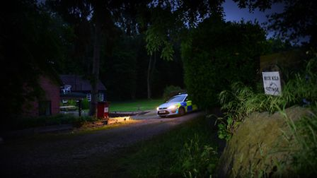 Police at Brick Kiln Cottage in Weybread as the search for Peter and Sylvia Stuart continues.PHOTO B