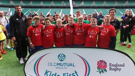 Aylsham High School pupils with England stars Jonny May and Sarah Hunter at an Old Mutual Wealth Kid