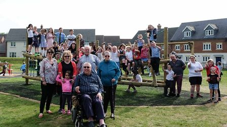 Carbrooke parish councillors and residents gather at the new playground on the Blenheim Grange estat