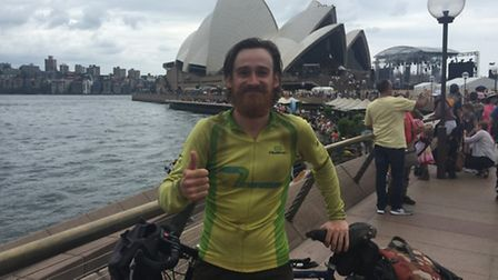 Joe Henry from Fring cycled the world. In Sydney, Australia.
