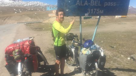 Joe Henry from Fring cycled the world. Mountain Pass in Kyrgyzstan