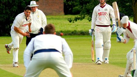 Ben France steams in for Norfolk against Cambridgeshire. Picture: TIM FERLEY