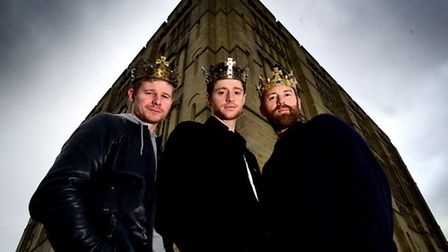 Norwich Theatre Royal's The James Plays trilogy actors at Norwich Castle. Left to right, Steven Mill