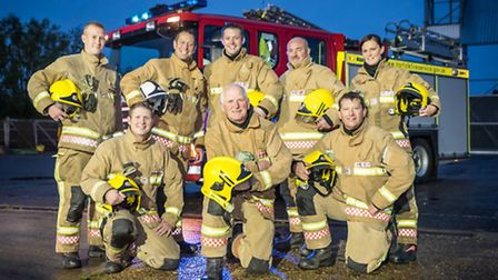 Hunstanton Retained Fire Fighter Gerry Desroches (front centre) has retired after a 40 year career.