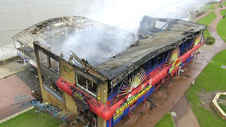 Smoke still rising from the remains of Hunstanton Pier following the fire early on saturday morning.