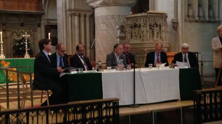 The hustings panel at Norwich Cathedral.
