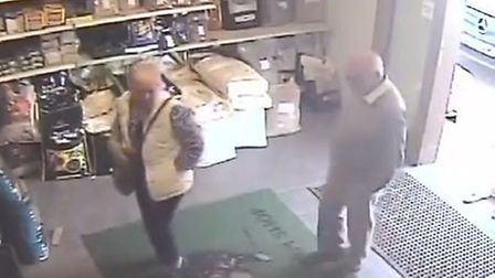 CCTV footage shows Sylvia and Peter Stuart at Goodies Farm Shop on Wood Lane in Pulham Market at 10.