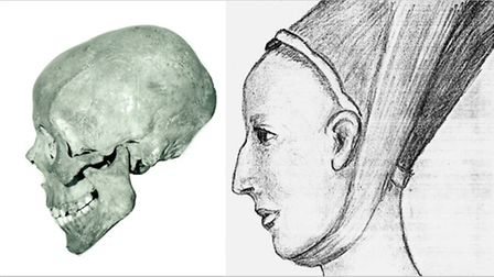 The skull believed to be from Lady Eleanor and an artist's impression of her profile