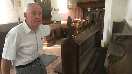 Church warden, Ivan Revell-Burrows at St Mary's Church in Carleton Forehoe, Norwich