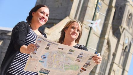 The Tornado trail in King's Lynn town centre. Pictured are (L) Charlotte Wright and Sam King. Pictur