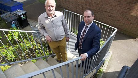 David Feltham (left), the chairman of the Norwich leaseholders Association, is highlighting what he