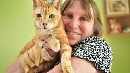 Henry, the oldest cat in the world pictured with his owner Sally Brown.Picture: ANTONY KELLY