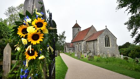 Outdoor service at Bawburgh to mark the death of St Walstan. St Mary and St Walstan church, Bawburgh