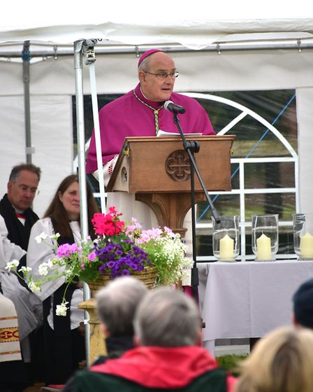 Outdoor service at Bawburgh to mark the death of St Walstan. The Bishop of East Anglia, The Rt Revd