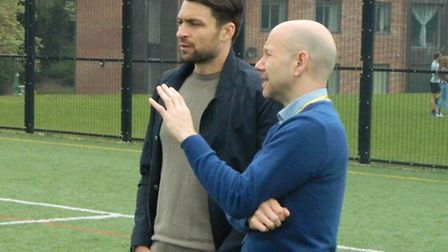 Norwich City captain Russell Martin, left, with Karl Chapman from the Easton and Otley College sport