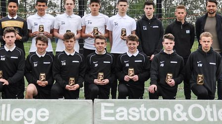 Norwich City captain Russell Martin, far right, pictured with the Easton and Otley College under-18s
