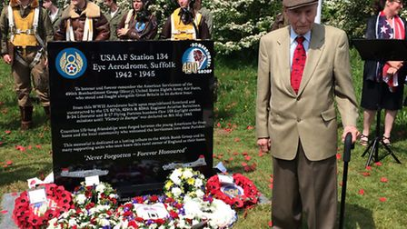 490th Bomb Group veteran Si Spiegle with the memorial. Picture: Rebecca Murphy