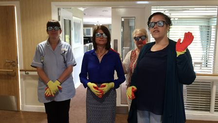 Ivy Court Care team members prepare for the dementia training scheme.