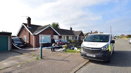 Police at Colindeep Lane in Sprowston on Thursday May 26 where a man's body was found. Photo: Archan