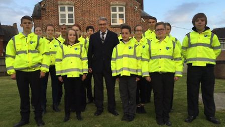 Lorne Green, Norfolk Police and Crime Commissioner, with the cadets at Thetford Police station