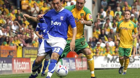 Andy Hughes in action for Norwich City against Ipswich in 2007. Picture: Angela Sharpe