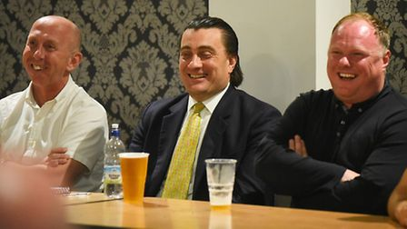 King's Lynn Town fans forum at The Walks. Pictured are (from left) Neil Fryatt, chairman Stephen Cle