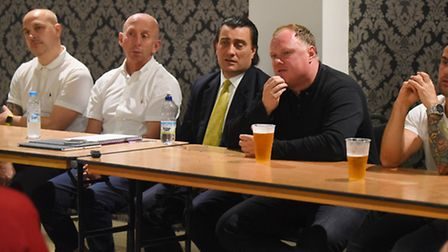 King's Lynn Town fans forum at The Walks. Pictured are (from left) Rob Back, Neil Fryatt, chairman S