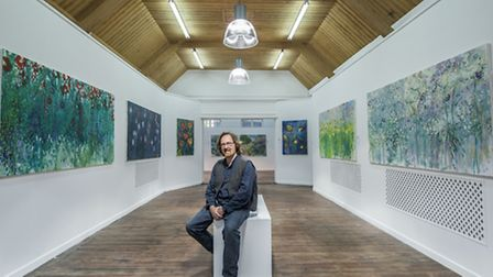 Artist Martin Kinnear in his new gallery space, exhibiting his current work The Painted Garden. Pict