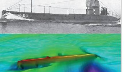 A survey of HMS D5, sunk off Lowestoft, has been carried out. Picture: Wessex Archaeology © Historic
