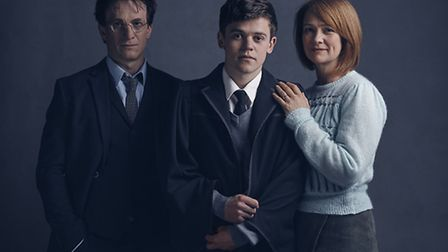 Jamie Parker, Sam Clemmett and Poppy Miller who play Harry Potter, Albus Potter and Ginny Potter res