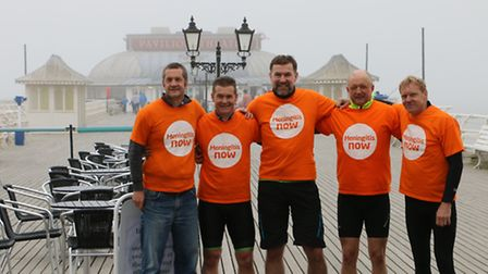 Riders taking part in the Pier to Pier ride from Bournemouth to Cromer in support of Meningitis Now.