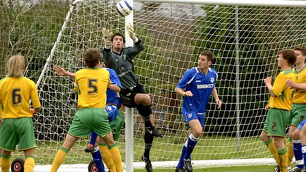 Joe Lewis in action for Norwich City U18s against Millwall at Colney in 2005. Photo: Bill Smith/Arch