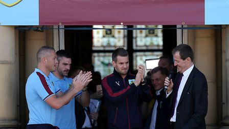 Burnley goalkeepers, from left, Paul Robinson, Matt Gilks and Tom Heaton during a civic reception to