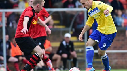 Matt Blake, right, in action for Norwich United during their Thurlow Nunn League Challenge Cup final