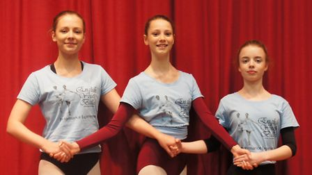 Ballet dancers, from left, Abigail Lewis, Mia Kruger and Kate Walsh