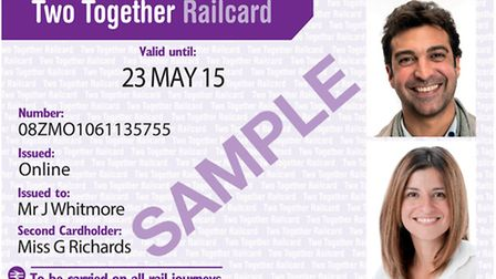 The Two Together Railcard. Photo: PA