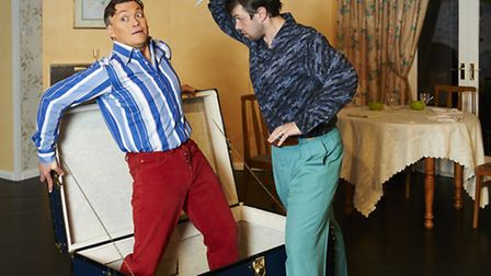 Paul Cleland, as Charles, and Ivan Wilkinson, as Rupert, in a scene from Kindly Leave the Stage. Pic