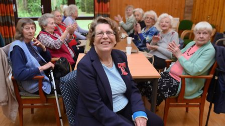 Margaret Wynn, who is retiring as chairman of the Sprowston Day Centre, pictured with some of the me