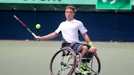 Alfie Hewett in action fro Great Britain at the BNP Paribas World Team Cup in Tokyo. Picture: Akira