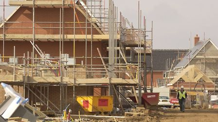 Homes being built in Carlton Colville during one of Waveneys last periods of big growth in 2005.
