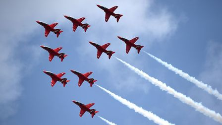 The Red Arrows take part in a display at the Royal International Air Tattoo at RAF Fairford, Glouces