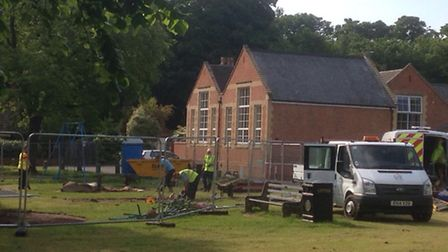 Play equipment is being replaced on the green at Ormesby. Workers arrived on Sunday to fence off the